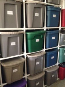 PVC Tote Storage Organizer - this is a picture of what we did in our garage plus instructions on how we did it.