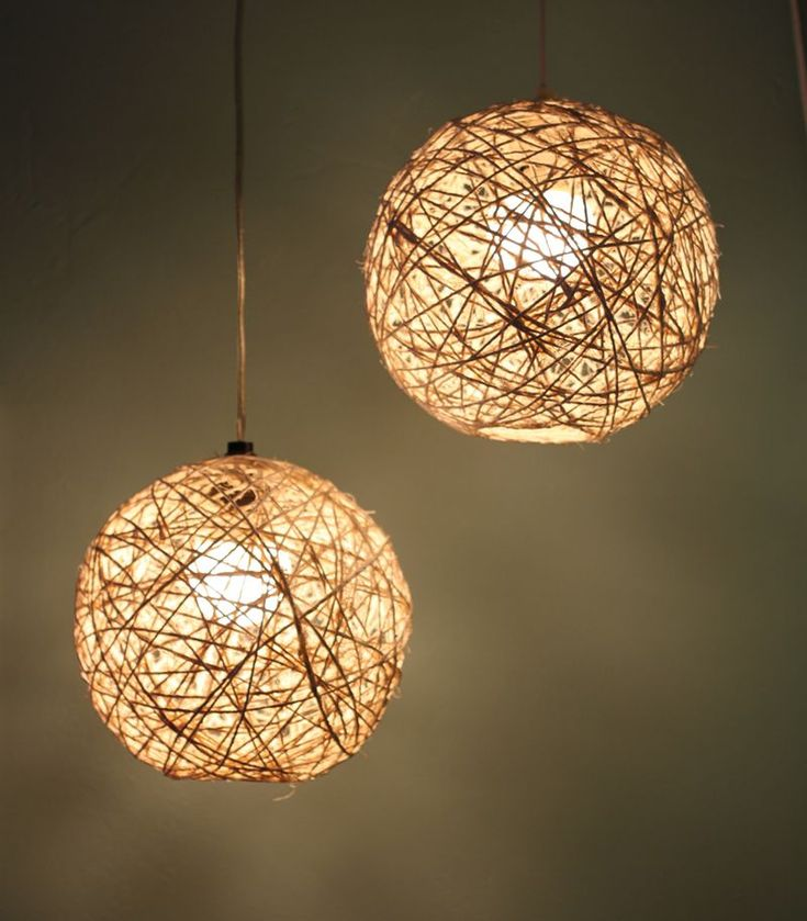 Diy yarn/glue pendants - could use oblong balloons or bottles and any variety of yarn(s) or rope (twine, jute, etc.)