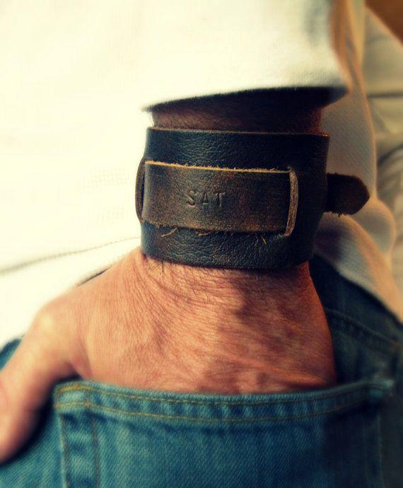 Mens Leather Bracelet Monogram Bracelet Wide by vintagestampjewels, $26.00