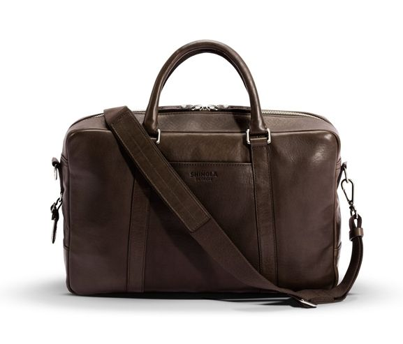 SHINOLA - American-tanned leather men's slim briefcase. Made in USA.
