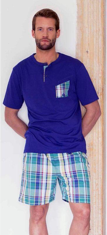 Pijamas de Verano para hombre de Guasch. Esquijama combinado con camiseta de punto y pantalón tipo bermuda en tela de algodón. OFERTAS