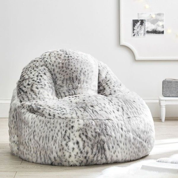 PB Teen Gray Leopard Faux Fur Leanback Lounger ($249) ❤ Liked On Polyvore