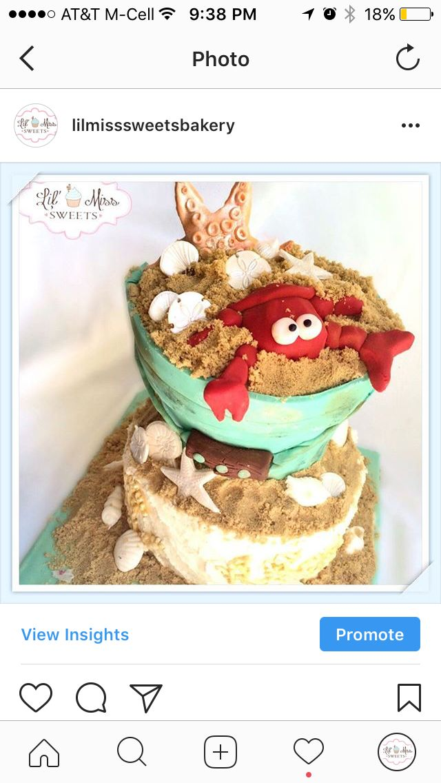 Crab in a sand bucket cake   See more at www.lilmisssweets.com