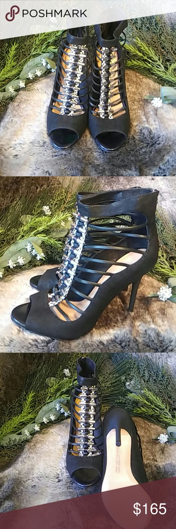Lamb strappy heels Designer stilletos heel strappy sandals in black with silver detail Lamb Shoes Sandals