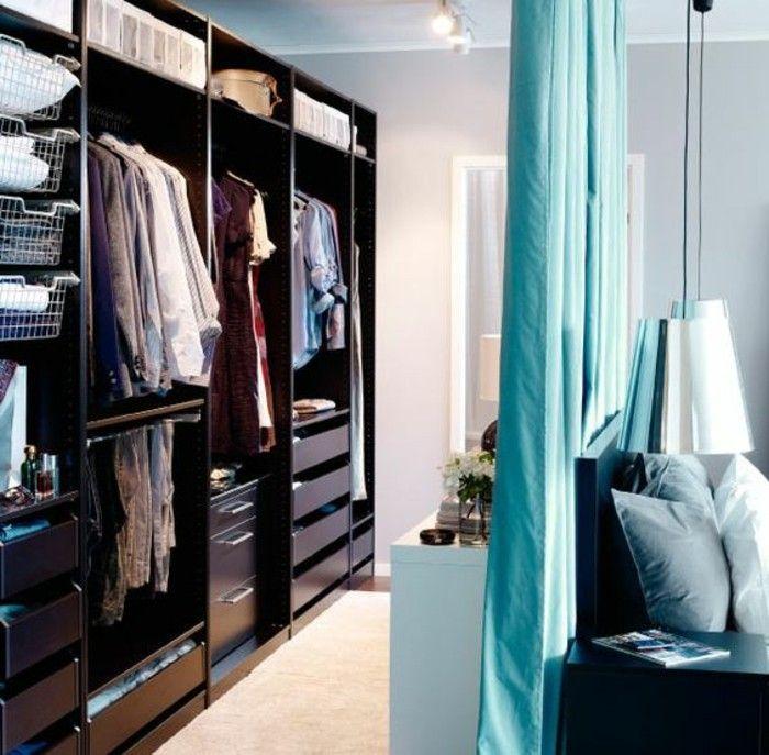séparation de pièce amovible rideau bleu clair pour separer une piece en deux