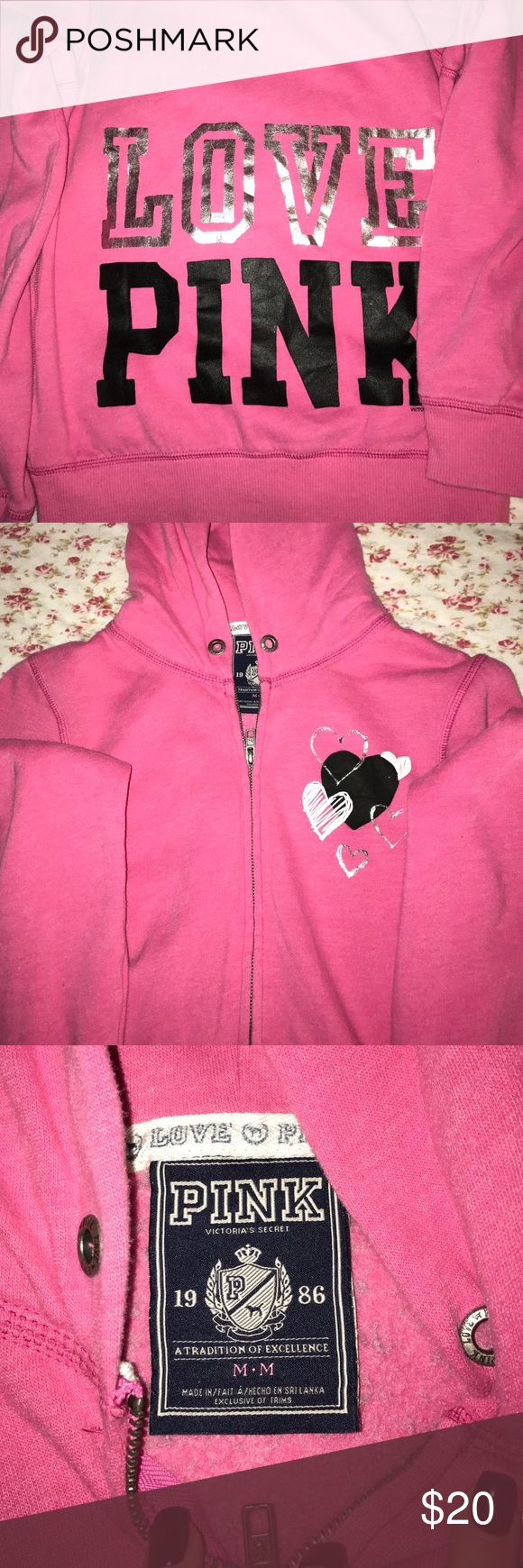 Victoria's secret pink zip up hoodie size medium great condition. Love pink on the back and hearts on the front PINK Victoria's Secret Tops Sweatshirts & Hoodies