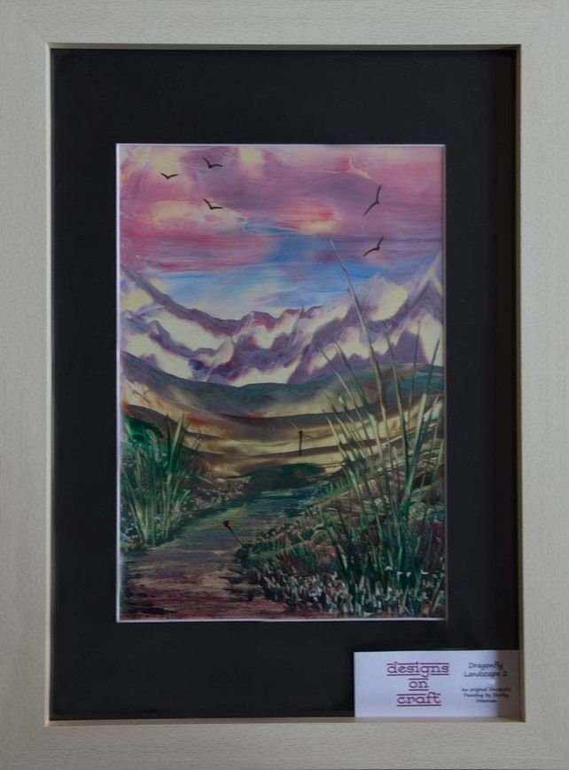 Dragonfly Landscape 2 - Original, Framed Encaustic Art Painting £37.00