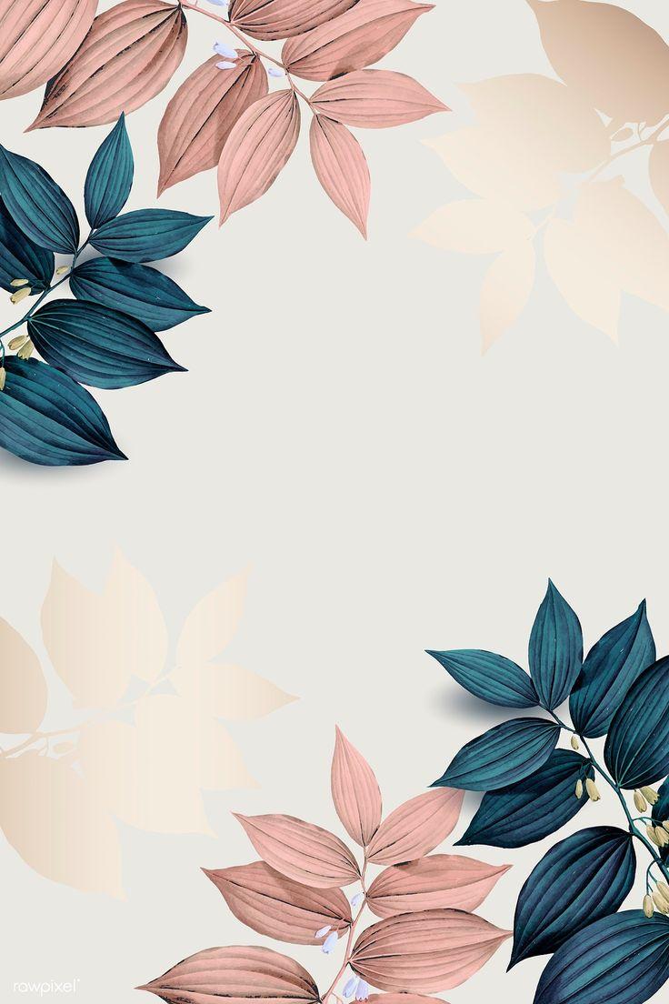 Download premium illustration of Pink and blue leaf pattern background