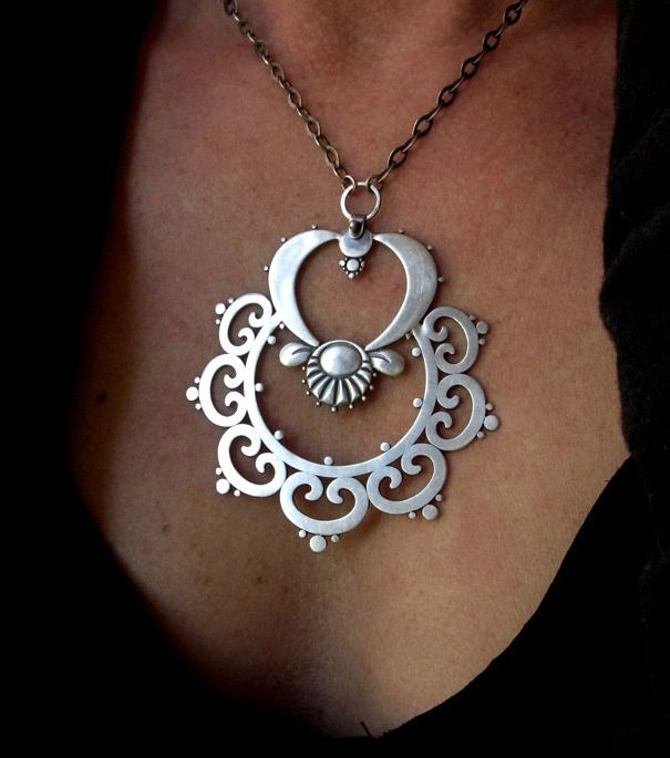 "Pendant | Sasha Bell. ""Ornate Tribal"". Sterling silver"