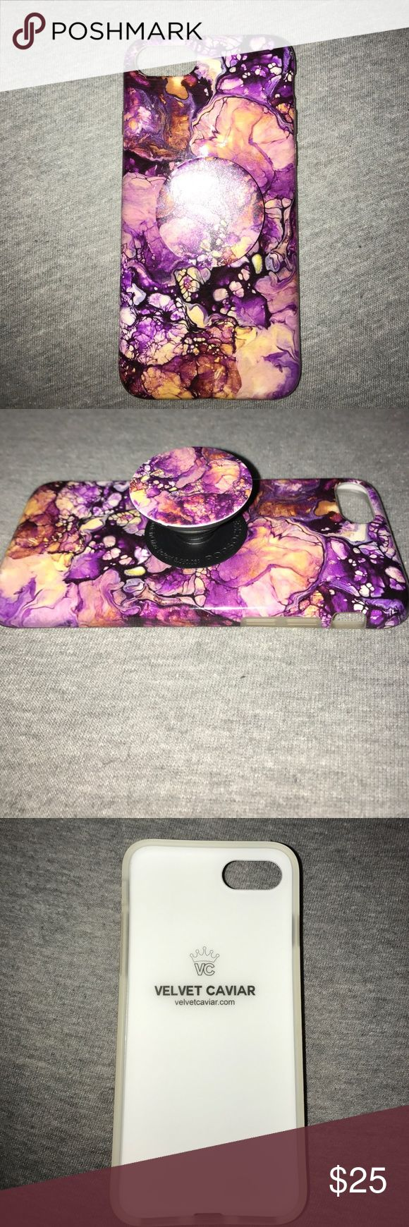 Purple Marble iPhone 7 case w/ matching popsocket Velvet Caviar case for iPhone 7, great condition. Popsocket can be removed. Accessories Phone Cases