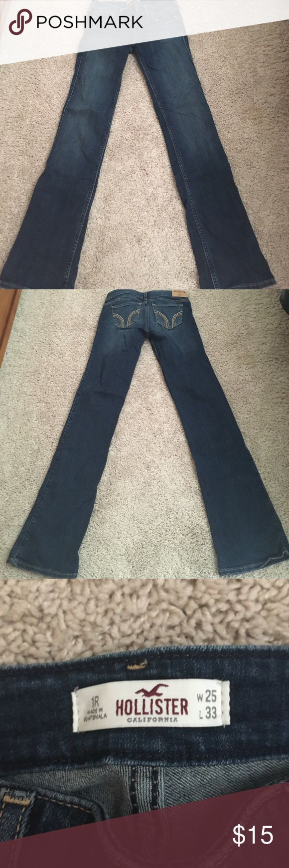 Hollister boot cut jeans Hollister dark wash boot cut jeans size 1 regular, no cuts, holes, or snags Hollister Jeans Boot Cut