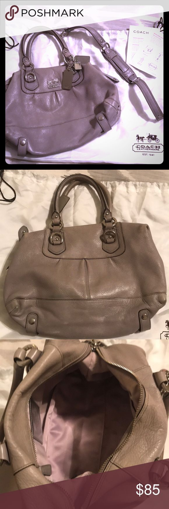"""Coach Madison Sabrina Convertible Strap in Gray Leather Coach bag in gray. Can be worn as a satchel or a hobo. Gently used. Comes with dust bag.   Length: 12.5"""" Width: 7.5"""" Coach Bags Satchels"""