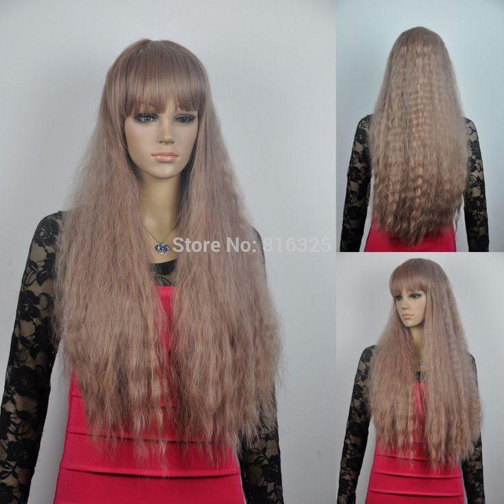 БЕСПЛАТНО P & P>> женщины fashin лонг рапсодия вьющиеся волнистые полной челкой каштановые волосы косплей полный парик