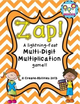 Multiplication Game 2 x 2 - Motivate your 3rd, 4th, 5th, 6th, 7th, and 8th grade classroom or homeschool students to practice their multiplication math facts with this fun game! ZAP! Just print and go! Click through to see how this engaging, hands-on game will work for math centers, stations, small groups, or other math activities! {third, fourth, fifth, sixth, seventh, eighth} $