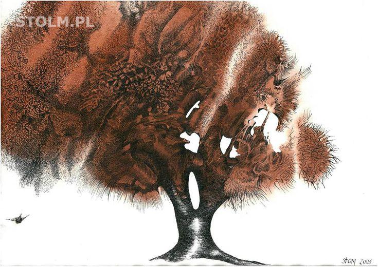 Red tree ink on paper Stanisława Olszańska Marszałek abstraction art