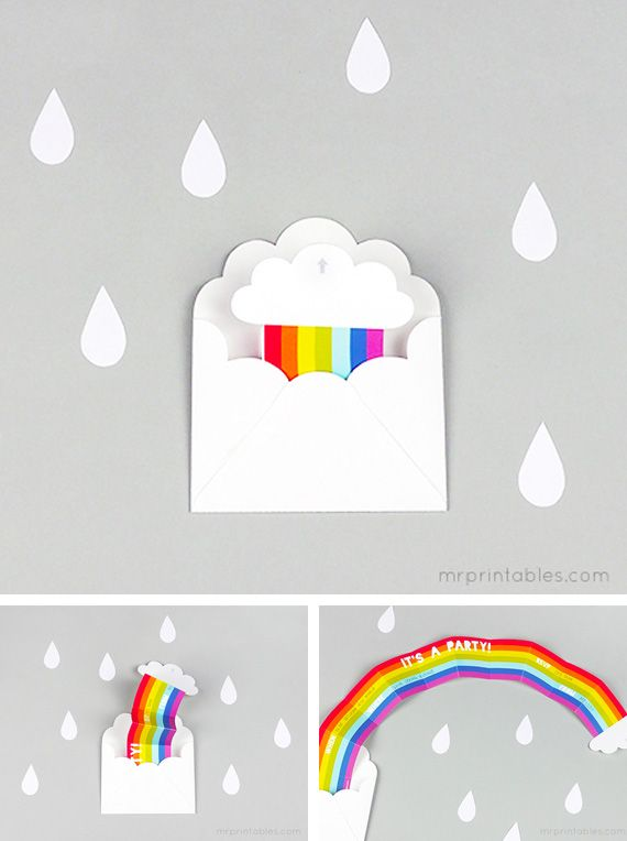 Rainbow party invite - would also make an awesome get well card
