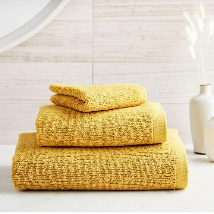 West Elm S Water Street Bathroom Collection Is Super Calming West Elm Towels Towel Towel Set