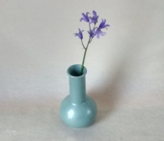 Poole Lustre Bud Vase Green Long Neck Bottle Flask by Eddystone