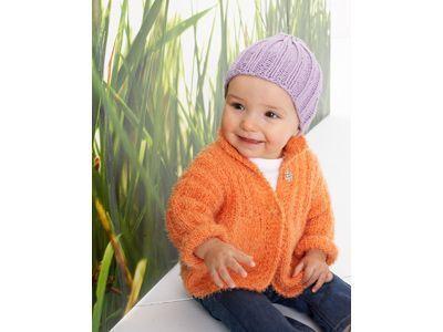Strickanleitung: Orange Jacke | Ein wahres Mais-terstück ist diese orange Jacke aus Bio-Maisgarn. Die Wolle für Größe 68/74 kostet elf Euro, für Größe 80: 16,50 Euro.