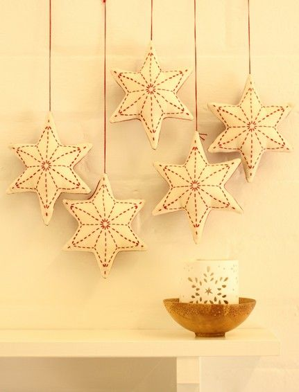 BeBe Bold - Contemporary Japanese Textiles Online Australia :: Sashiko Christmas Star Decoration 5 pack