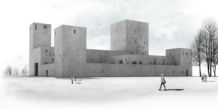 Visualization. Project of church in Wroclaw, Poland. Competition entry. Nowe Żerniki estate. Third prize. Authors: OVO Grabczewscy Architekci Marta Lata Dobrochna Lata Mateusz Pietryga Łukasz Migała