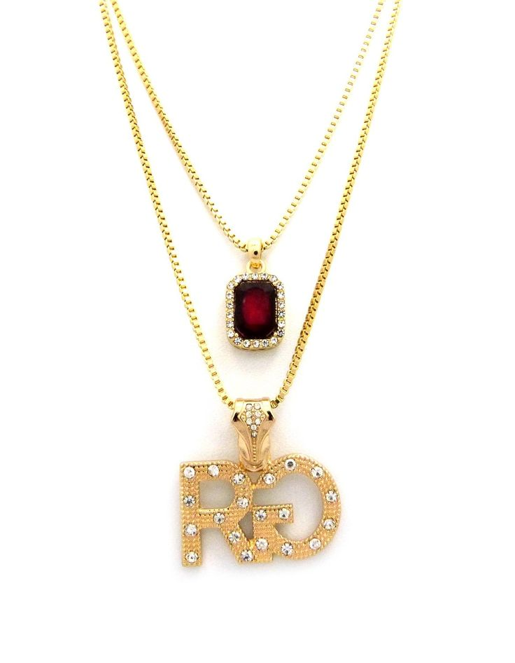 "NEW ICED OUT 'RG' RICH GANG & GEMSTONE PENDANT &24""&30"" BOX CHAIN NECKLACE - RC1284G. Stone Pendant Size : 0.6 "" x 1.15 "". 'RG' Pendant Size : 1.5 "" x 1.5 "". Chain Size : 2mm/24"" Box Chain & 2mm/30"" Box Chain."