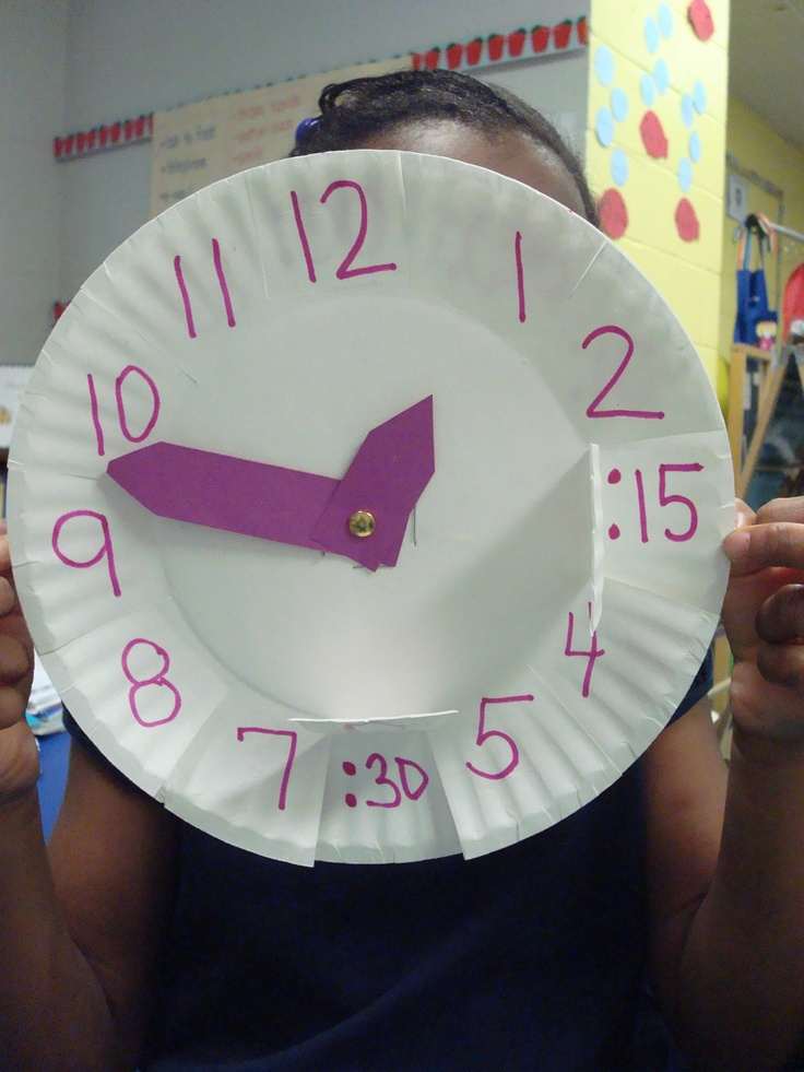 Link out of date, but picture shows telling time clocks-2 paper plates, top plate cut so they can see the minutes underneath.
