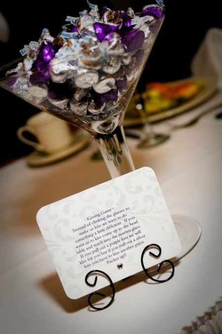 Martini Gl Filled With Hershey Kisses To Play Kissing See More Kiss Wedding