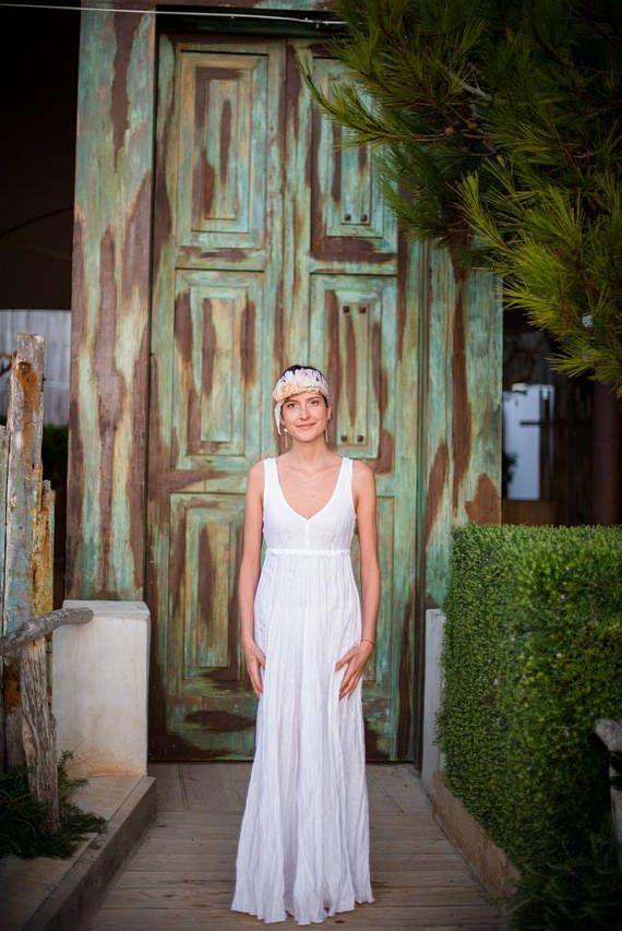 White Linen Wedding Dress   Long Linen Dress Ideal for Summer