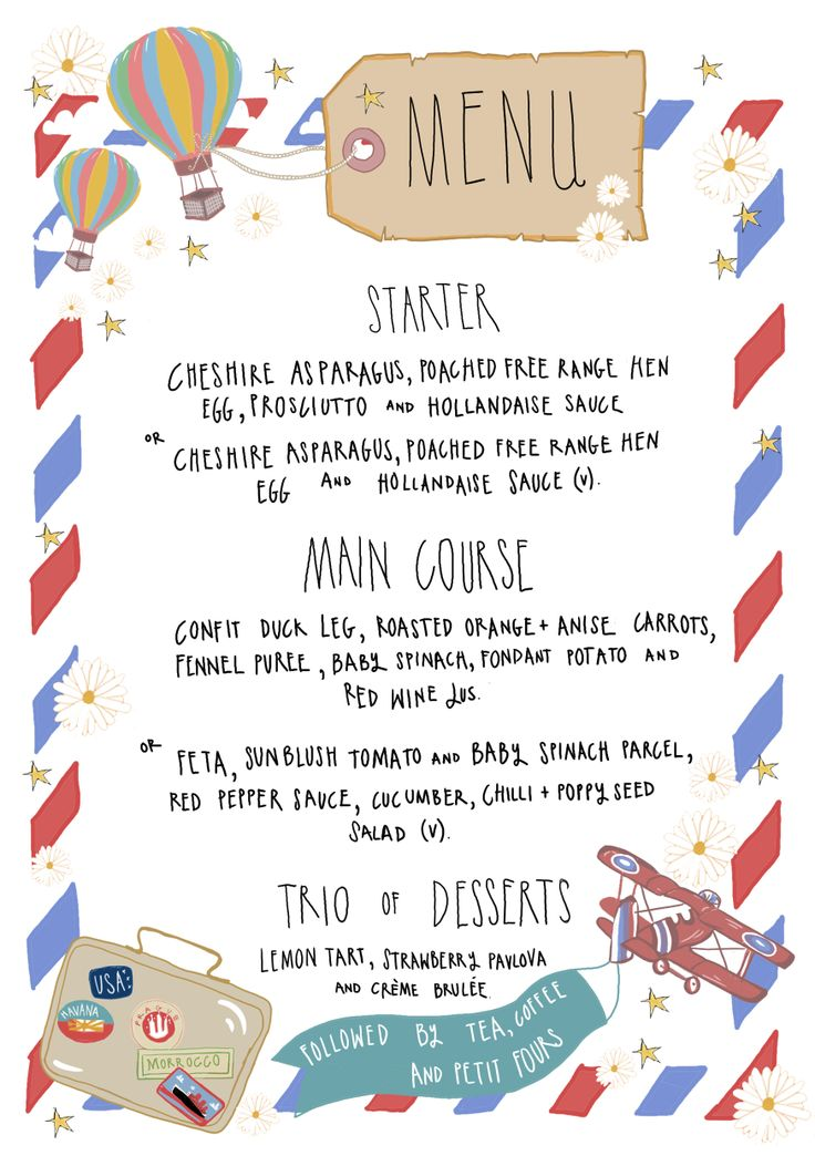 Travel Themed Wedding Menu, illustrated by The Story House. Story-house.co.uk