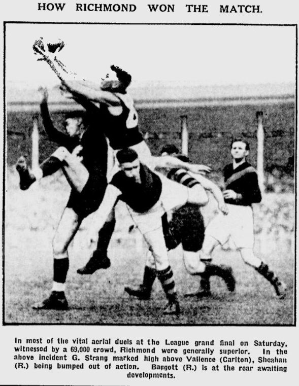 Gordon Strang marks 1932 Grand Final win for Richmond