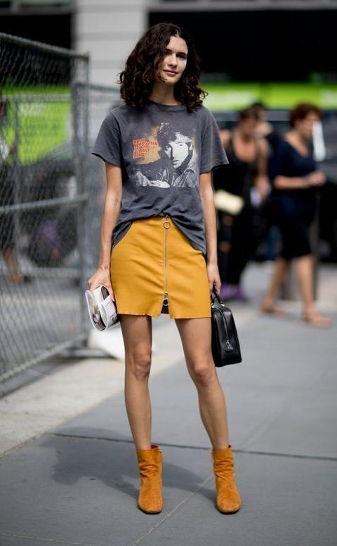 45da8df1f870 mustard front zip circle zipper skirt, mini skirt outfit, how to ...