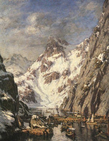 Gunnar Berg (Norwegian, 1863-1893), Trollfjordslaget [The Battle at Trollfjord], oil on canvas, Svolvær City Hall