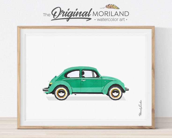 Volkswagen Beetle 1952 Print, Classic Beetle Car Art, Transportation Decor, Big Girl Boy Room Decor, VW Bug Printable, Vintage Car Print by MORILAND on Etsy