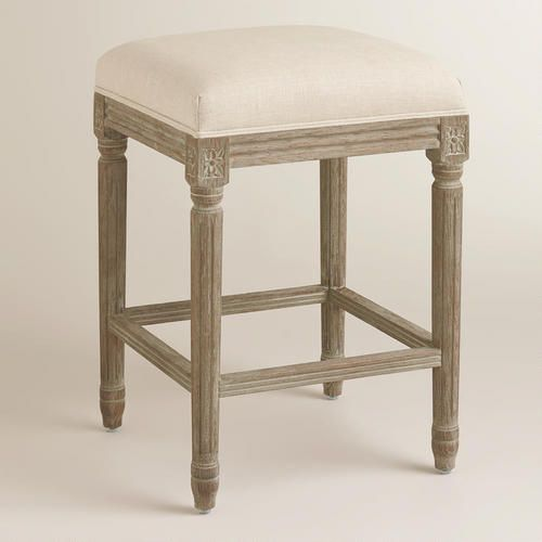 Natural Linen Paige Backless Counter Stool Natural Linen