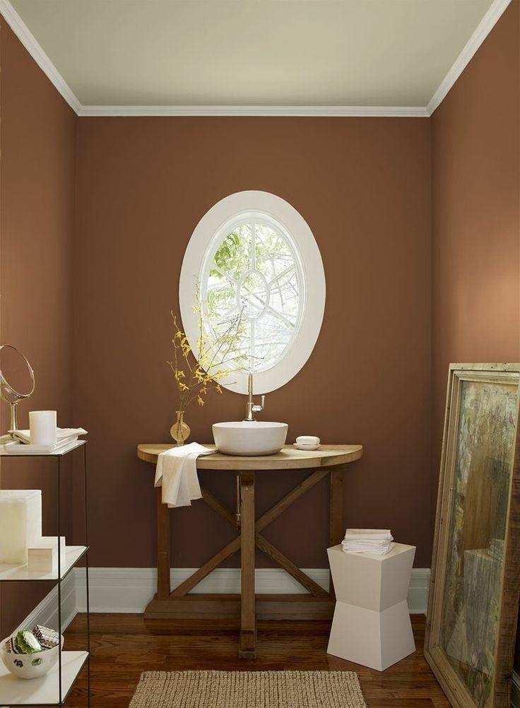 couleur salle de bains marron chocolat table de toilette en bois de design ovale et - Prise Pour Salle De Bain Couleur Marron