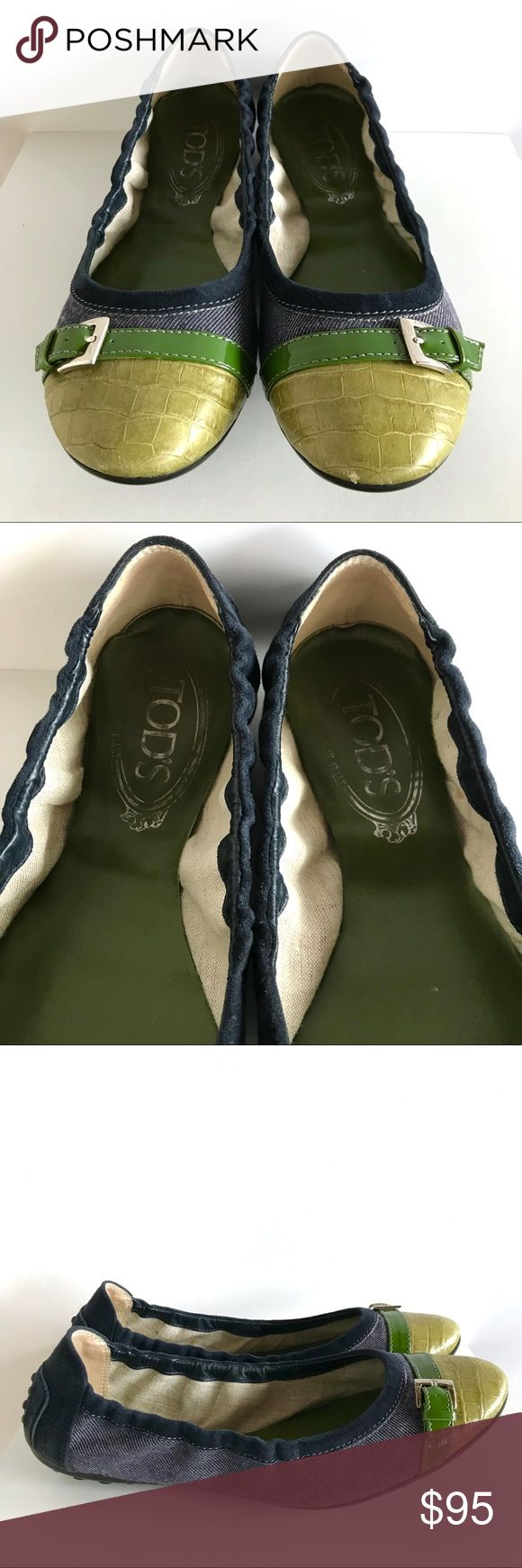🆕 NWOT Tod's Color Block Ballet Flats 🆕 NWOT Tod's Color Block Ballet Flats.  Size 7. Lime colored embossed leather toes, dark green patent leather stripe (with stamped buckle), denim body & navy suede piping and rear of heel.  Brand new (bottoms have no signs of wear), but toe of left toe has a small nick and back of heels shoe some rubbing on the suede (see photos).  Inside of left shoe has a small stain (possibly glue) on inside lining (see photos).  In otherwise excellent condition…