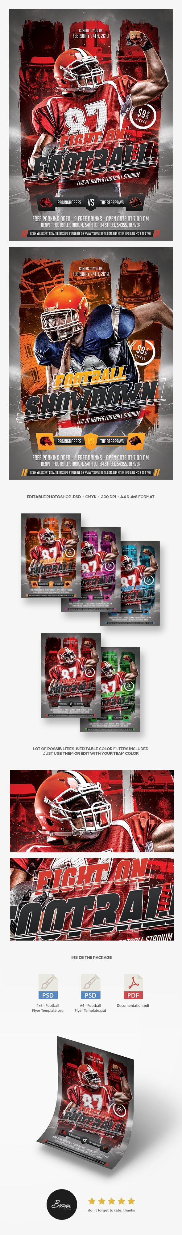 Football flyer template for Photoshop perfect to promote your college football league, football match, NFL, or any football events. #graphicriver #flyer #poster #banner #sports #football #nfl #american #sport #design #graphic #print #photoshop #template #adobe #championship #international #download #psd #psdtemplates