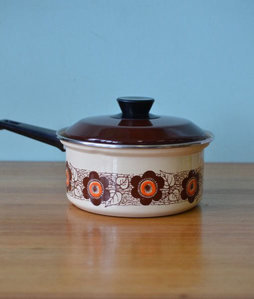 Mid century  Saucepan pan  brown flowers