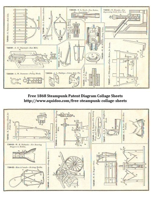 many Free Digital Collage Sheet - Steampunk Machinery Illustrations - Patent Diagrams