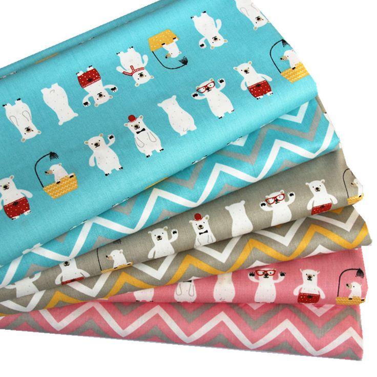 100% cotton twill cloth cartoon aqua gray pink cute bear showering chevron fabric for DIY crib bedding cushions handwork decor #Affiliate