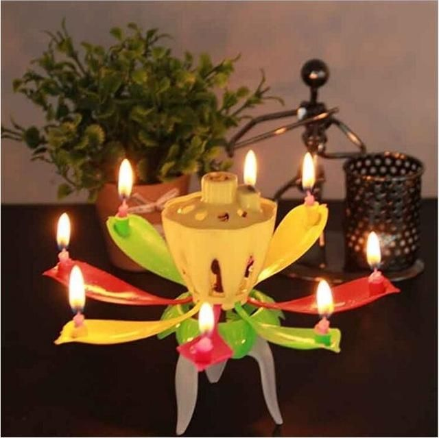 6 Parttens Electronic Art Candle Double Layer Rotating Musical Lotus Birthday Candle Gift for Kids Birthday 8/14 Candles/flower