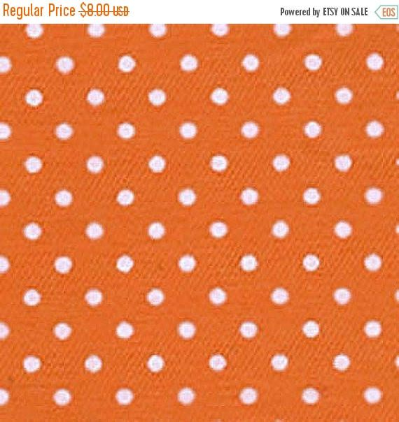ON SALE - 15% Off Fabric Finders Pindot Orange White Twill Quilting Apparel Applique Fabric By The Yard