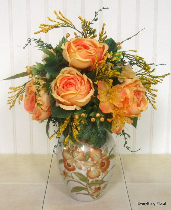 Silk Flower Arrangement Peach Roses Golden By EverythingFloral