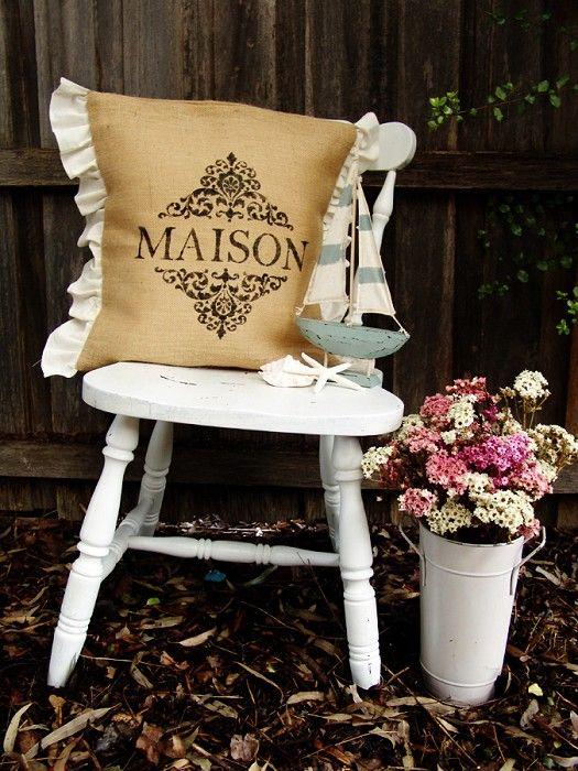 burlap french cushion