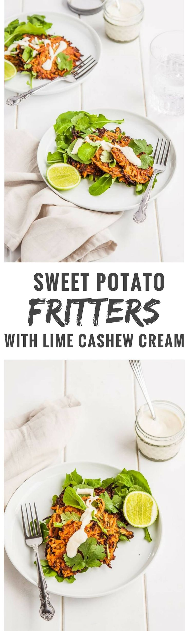 These fragrant gluten free sweet potato fritters are perfect for breakfast, lunch or dinner. Top with a generous dollop of dairy free lime cashew cream and a side salad and dinner is sorted!