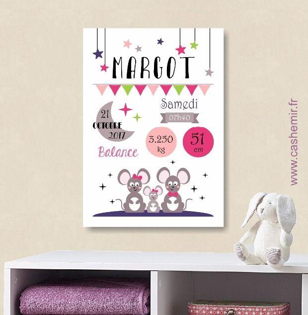 Affiche naissance bébé, cadeau de naissance fille personnalisé, tableau chambre bébé enfant, animaux - Fichier Imprimable - n°4 : Décoration pour enfants par cashemir
