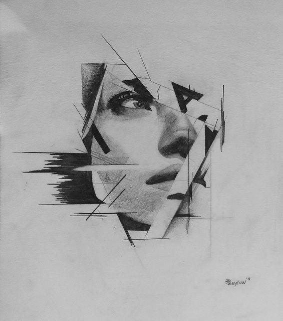 "fractured face abstract design drawing idea - add in typography or make up some ""rules"" using elements/principles of art"