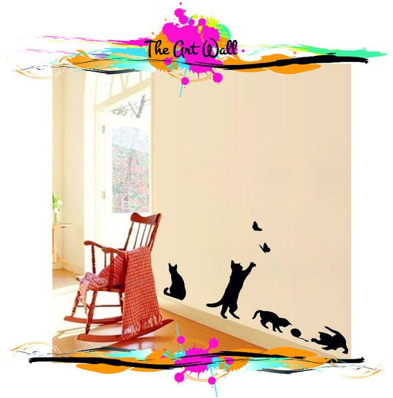 Cute Naughty Play Black Cats Wall Stickers for Bedroom Living