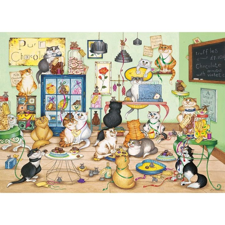 GIBSONS PURRFECT CHOCOLATE 1000 PIECE JIGSAW PUZZLE IDEAL